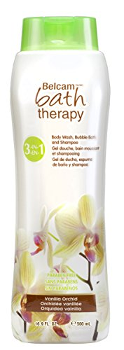 Belcam Bath Therapy Florals 3-in-1 Body Wash, Bubble Bath and Shampoo, Vanilla Orchid, 16.9 Fluid Ounce