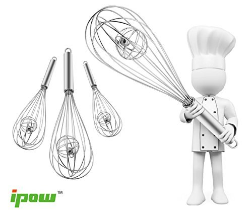 Ipow Stainless Steel Balloon Wire Whisk with Magic Ball,set of 3