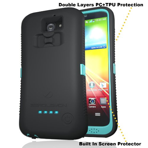 [180 Days Warranty][Case WITHOUT Battery] Zerolemon Black / Mint Zeroshock Rugged Case for Zerolemon LG G2 - Includes Screen Protector, Holster, and Kickstand