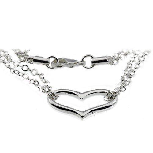 Silver Open Heart Love Charm Valentines Anniversary Bracelet Jewelry Gift for Girlfriend Teen Girl Women