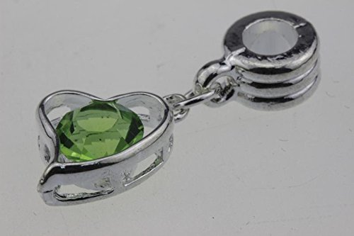 Silver Green Crystal Heart Large Hole Beads Charms - Best Accessories to Create Jewelry for Women Girls