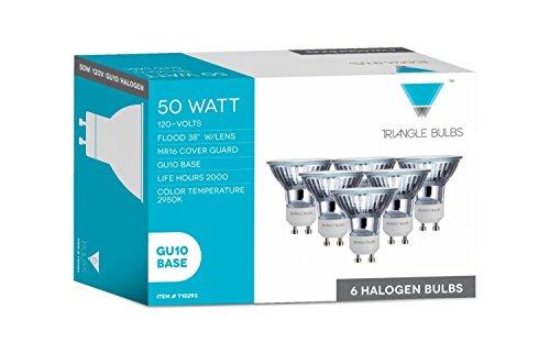 Triangle Bulbs T10293-20 (20 pack) - Q50MR16/FL/GU10, 50 Watt, MR16 With UV Glass Cover, 120 Volt, GU10 Base, Halogen Flood Light Bulb, 20 Pack