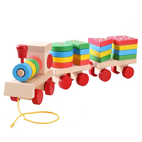 Lewo Deluxe Stacking Train Set Toddler Toy Three Section Wooden Car Sets Block Games Pull Along Shapes Puzzles Educational Toys