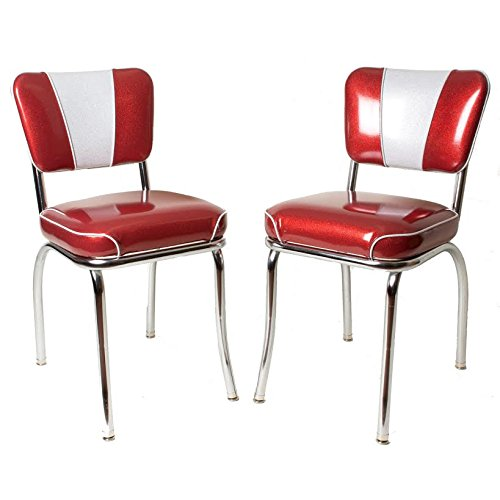 1950s Sparkle Vinyl Chrome Diner Chair - Set of Two - Waterfall Seat