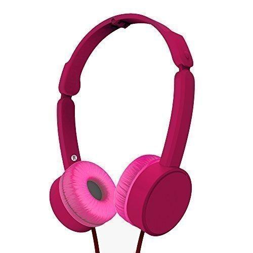 MAXROCK Foldable Over-head Headphones With Adjustable Headbands 3.5mm Universial Jack (Pink)