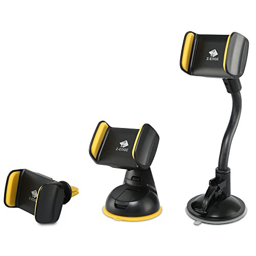 Z-Edge 3-in-1 Car Phone Mount Holders - Universal Car Windshield, Dashboard and Air Vent Mobile Phone Cradles Inside Every Pack - for iPhone 6s, 6s Plus, 6, 6 Plus, SE Plus and and other Smartphones