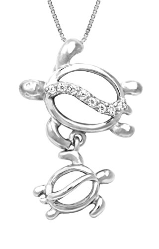 Sterling Silver Mother & Baby Turtle Pendant with 18 Box Chain