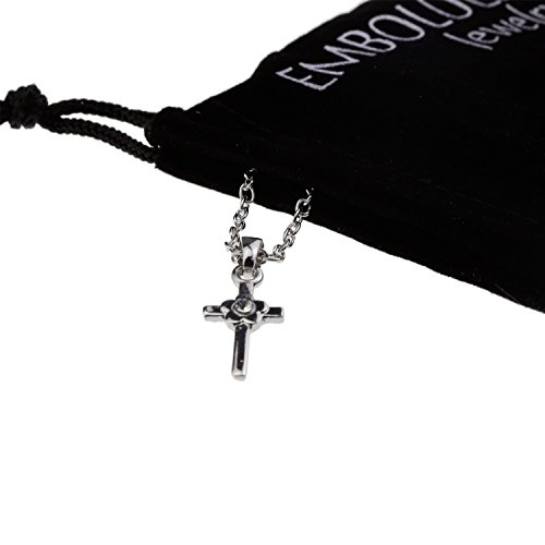 Silver Rhinestone Crystal Flower Cross Pendant I Love Jesus Necklace Lovely Religious Christian Jewelry