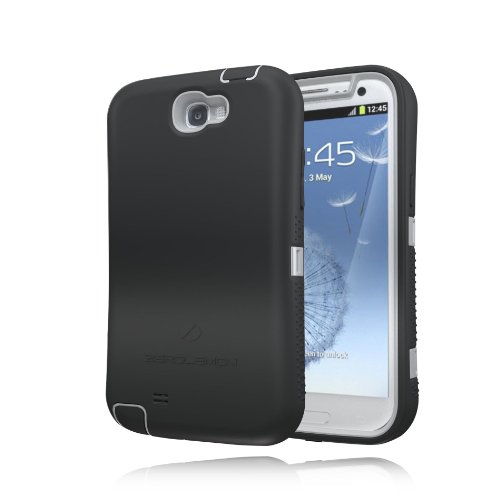 [180 Days Warranty] Zerolemon Black / Gray Zero Shock Series for Samsung Galaxy Note 2 N7100 - Covers All Battery Sizes - Worlds Only Universal Form Fitting Case. Rugged Hybrid Case Includes Belt Clip and Kickstand Usa Patent Pending
