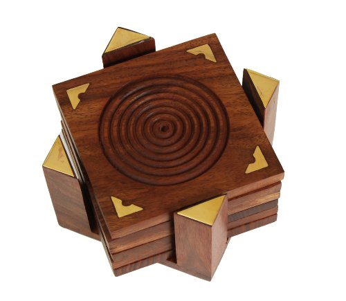 Fine Polished Set of 6 Hand Carved Wooden Drink Square Coasters & Holder with Beautiful Brass Inlay Barware & Kitchen Tabletop Accessory Home Living room Decor