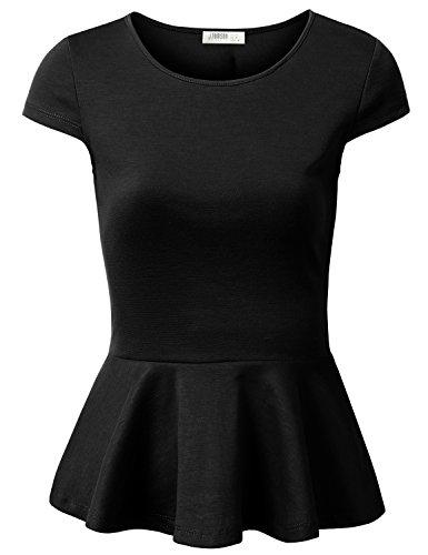 J.TOMSON Women's Short Sleeve And Sleeveless Fitted Peplum Top