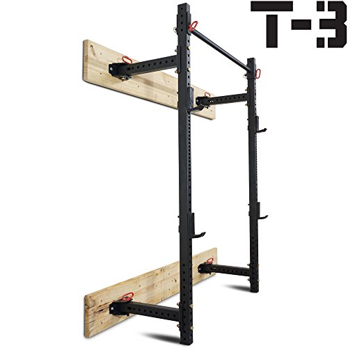 Titan Fitness T-3 Series Fold Back Power Rack 21.5 Deep Laser Cut Wall Mount