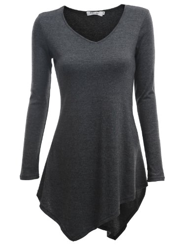 Doublju Women Comfy Unbalanced 3/4 Sleeve Plus Size Tee CHARCOAL,XL