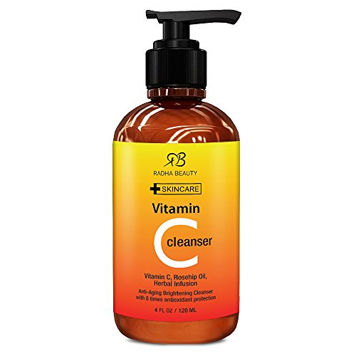Vitamin C Facial Cleanser 4 oz - Best face wash for Anti Aging & Skin Brightening with Vitamin C, Herbal Infusion, Rosehip Oil - with 8 times antioxidant protection!