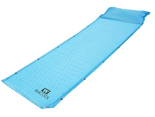 WACOOL Lightweight Self-Inflating Camping Sleeping Pad with Inflatable Pillow (SkyBlue)