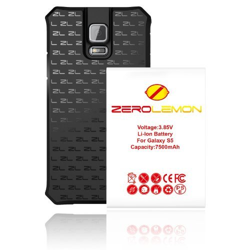 ZeroLemon® 7500mAh Extended + NFC Battery Combo for Samsung Galaxy S5 - TPU Back Cover Included [180 Days Warranty]