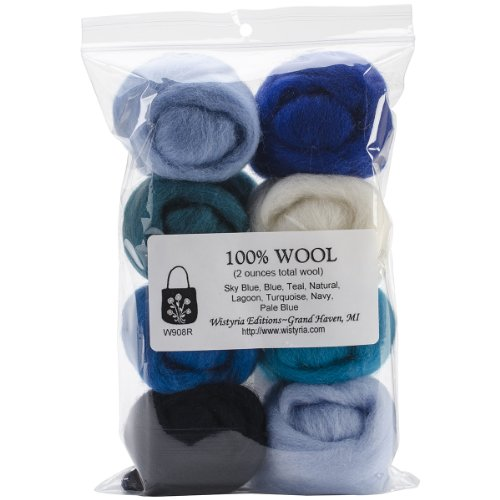 Wistyria Editions WR-908R Wool Roving, The Sea, 8-Pack