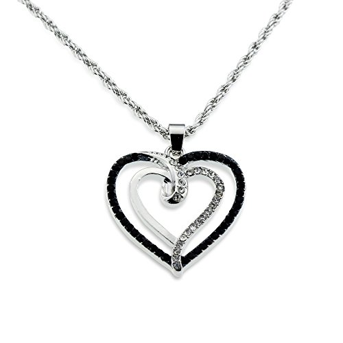 Gift for Her Jewelry - Silver Crystal and Black Double Open Heart Pendant Necklace for Valentine's Day