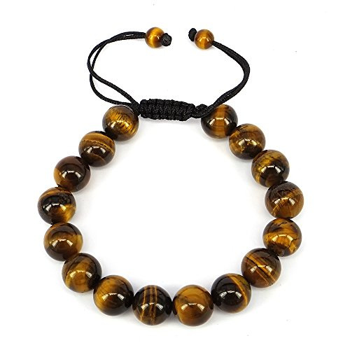Cat Eye Jewels 10mm Natural Tiger Eye Bracelet Yoga Prayer Mala Buddha Black String Bracelet YD-H008