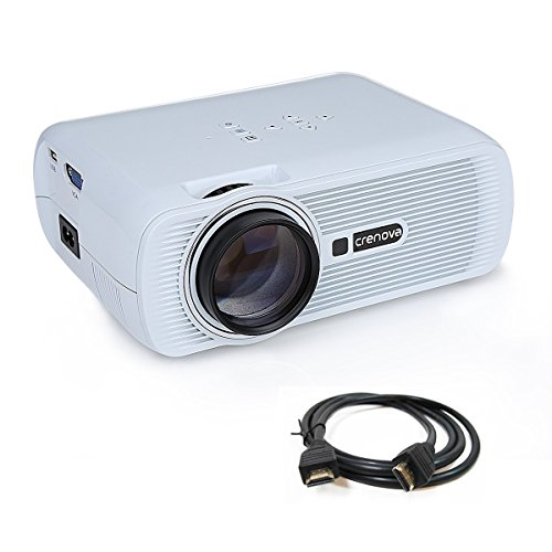Projector,Crenova XPE600 Portable HD Projector 2600 Lumens 800*480 Resolution with Free HDMI Cable and 2 HDMI 2 USB VGA TV/DTV YPBPR Input for Home Theater Cinema