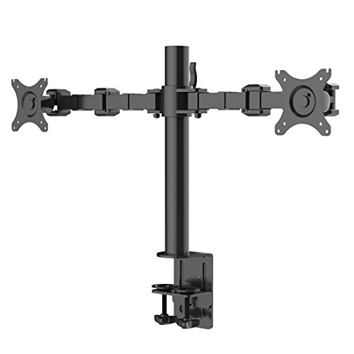FLEXIMOUNTS D1D Full Motion Dual Arm Desk Monitor Mount Stand Fits 10-27 LCD Computer Monitor,Clamp Mounting, 22 lbs Loading capacity