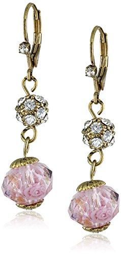 Betsey Johnson Tzarina Princess Pink Flower Bead Drop Earrings