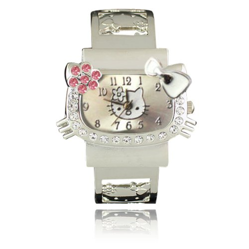 Kitty Stainless Steel Bangle Watch (White)