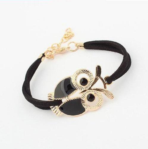 Aokdis Hot Fashion Korean Style Women Lady Girls Retro Owl Decoration Faux Leather Bracelets (Black)