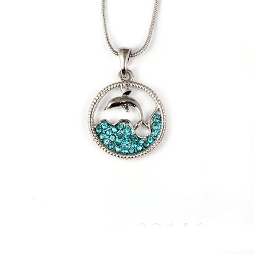 Stunning Dolphin and Sea in a Circle with Blue Crystals Silver Pendant 18 Chain