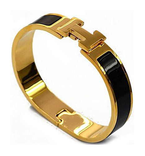 TA Stainless Steel H-Buckle Bangle Bracelet