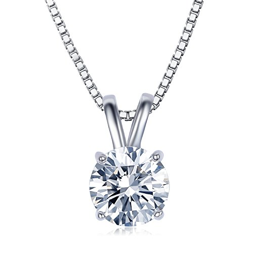 UMODE Jewelry 2 Carat Round Cut Clear Cubic Zirconia CZ Solitaire Pendant Necklace 18 (16+2 Ext.)