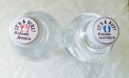 80 Personalized Pink or Blue Footprint Water Bottle Toppers for Baby Shower. Adhesive stickers/labels for the top of your water bottle caps to make UNIQUE Favors!