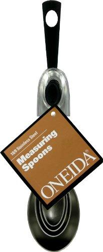 Oneida 4 Piece Measuring Spoon Set, Stainless Steel/Black