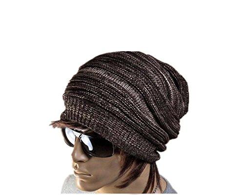 ANKKO Unisex Winter Plicate Baggy Beanie Knit Crochet Hat (coffee)