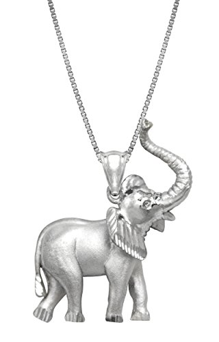 Sterling Silver Elephant Necklace Pendant with 18 Box Chain