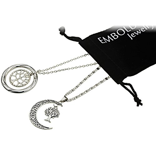 Style Silver Necklace Set with Charm Moon and Tree of Life Pendants for Women