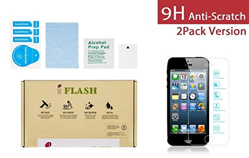 iFlash® 2 Pack of Premium Tempered Glass Screen Protector For Apple iPhone 5/5S/5C - Protect Your Screen from Scratches and Bubble Free - Maximize Your Resale Value - 99.99% Clarity and Touchscreen Accuracy (2Pack, Retail Package)