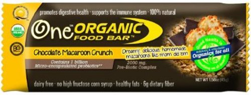 Organic Food Bar Macaroon Crunch, Chocolate 1.58oz Bars (Pack of 12)