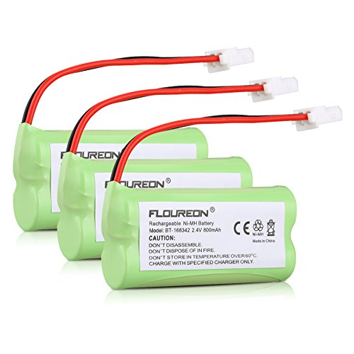 Floureon 3 Packs Cordless Home Phone Battery Pack for AT&T VTech BT166342 BT266342 BT183342 BT283342 2.4V 800mAh Ni-MH Fruit Green