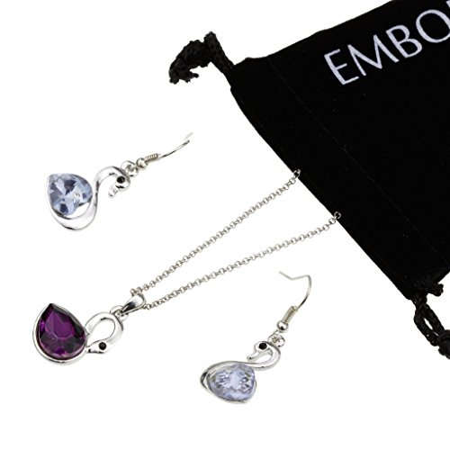 Charm Silver Clavicle Chain Necklace Cubic Zirconia Swan Shape Pendant and Fish Hook Earrings Set