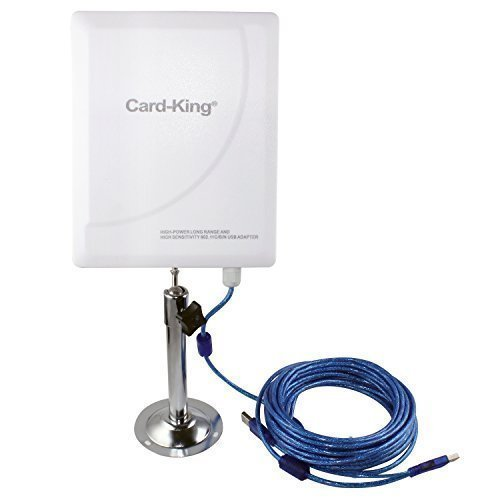 Card King Long Range Indoor Outdoor USB Wifi Wireless Adapter with 20dBi High Gain Antenna 33ft Cable 300Mbps