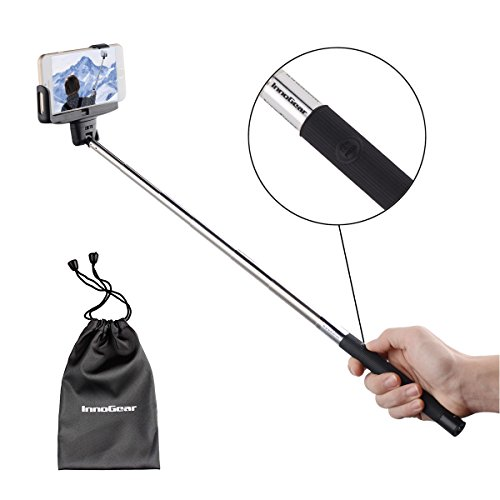 InnoGear Adjustable Extendable Bluetooth Monopod Handheld Self Portrait Selfie Stick with Remote Shutter Function for iPhone 4 4s 6 6 plus 5 5s 5c, Samsung S3 S4 Note 2 Note 3, HTC, Sony, LG (Black)