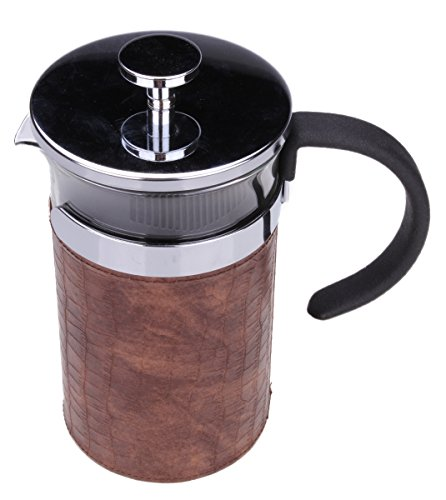 Gourmet 1 Liter Chrome French Press Coffee Brewer with Brown Heat-Sealing Sleeve