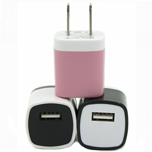 Eversame Bundle of 3 Colorful USB AC/DC 1.0A Universal Travel Home Wall Charger Adapter for iPhone 6/6 PLUS/5S iPod touch Samsung Galaxy Note 4/3 S5/4 HTC One M8 LG G3 Nokia and More-1 year Guarantee (Black White Baby Pink)