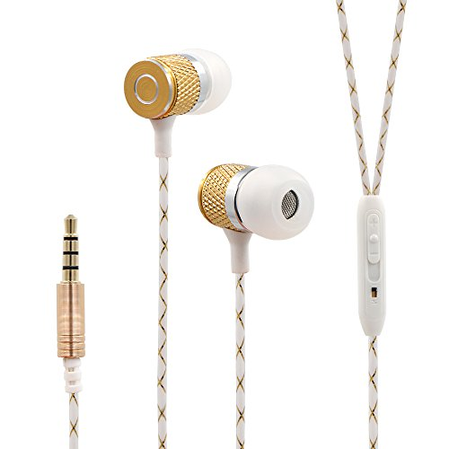 Bukm Wired Stereo Headset Stereo Earphones Earbuds Noise Isolating Headphone with Mic and Volume Control For iPhone 6 Plus 6S, Samsung Galaxy S6 Edge, Galaxy Note 5, HTC, iPod, iPad , MP3 Player