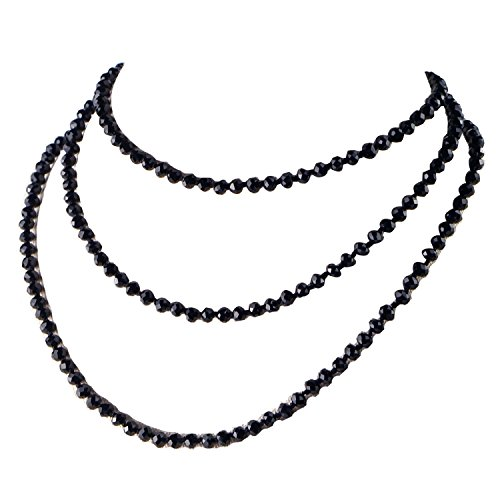 Cat Eye Jewels Bling Multi-use Black Tone Beads Multi Strand Long Necklace Bracelet Rhinestone Ball Magnetic