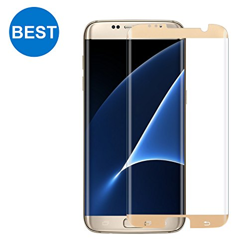 Samsung Galaxy S7 Edge Screen Protector TANAAB [9H Glass][Case Friendly][No Lifting Up][3D Curved Protection][Ultra HD][Anti-Bubble] - Gold