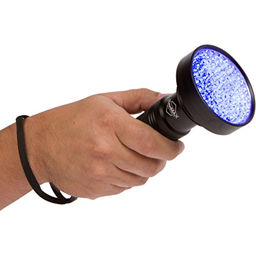 SUPER BRIGHT 100 LED Blacklight UV Flashlight- Emits a POWERFUL 30 Foot Ultraviolet Flood Light Beam - Finds Pet Urine Stains, Scorpion Hunting, Bed Bugs, Mold & Leak Detection - Commercial or Home