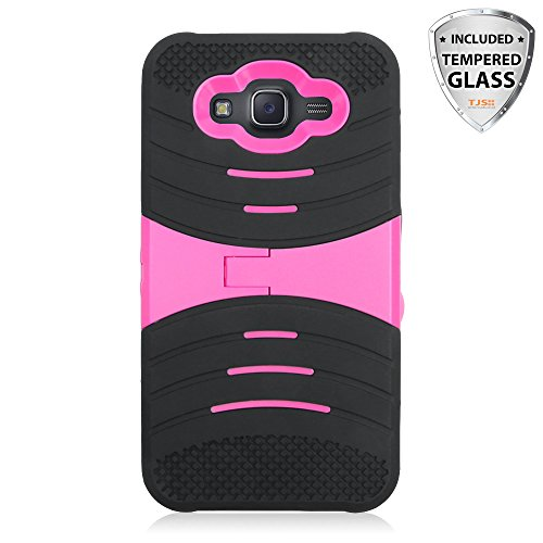 Galaxy J7 (2015) Case With TJS® Tempered Glass Screen Protector, Dual Layer Rubber Shockproof Rugged Hybrid Armor Drop Protection Soft With Built-in Kickstand For Samsung Galaxy J7/J700 (Black/Pink)