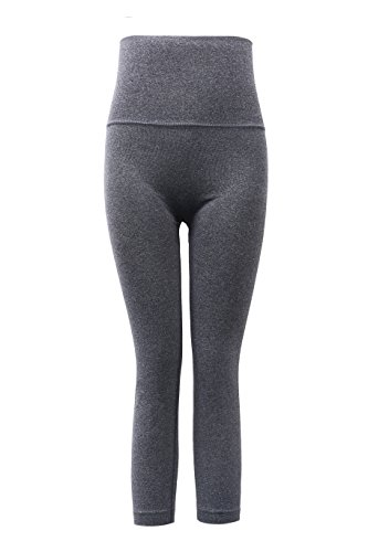 Aaronano Women's Slim Yoga Pants with Fold Over Solid Waistband Dark Grey,XL/XXL